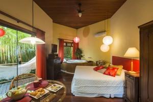 Pousada das Palmeiras Lagoa da Conceicao Florianopolis Suite bambu vista do quarto